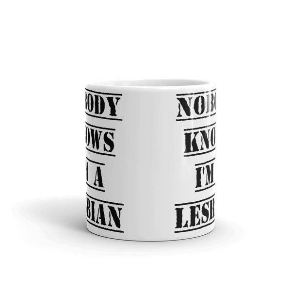 Nobody Knows I'm a Lesbian Mug | LGBTQ and Polyamory Gifts | Polycute Gift Shop