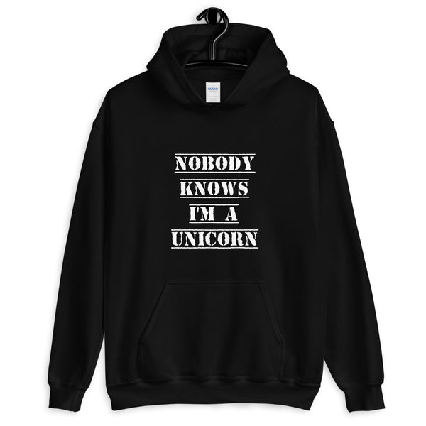 Nobody Knows I'm a Unicorn Hoodie Black | Polycute Gift Shop