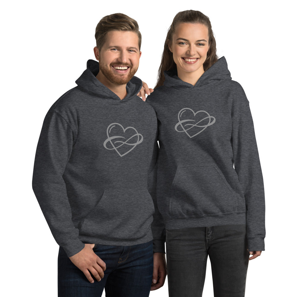 Infinite Love Hoodie Dark Heather | Polycute Gift Shop