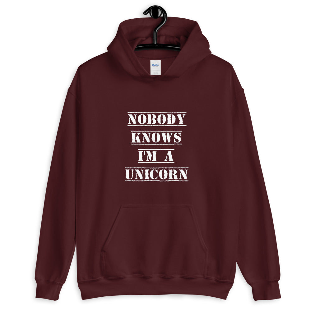 Nobody Knows I'm a Unicorn Hoodie Maroon | Polycute Gift Shop