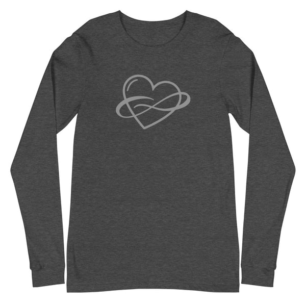 Infinite Love Long Sleeve Tee Dark Grey Heather | Polycute Gift Shop
