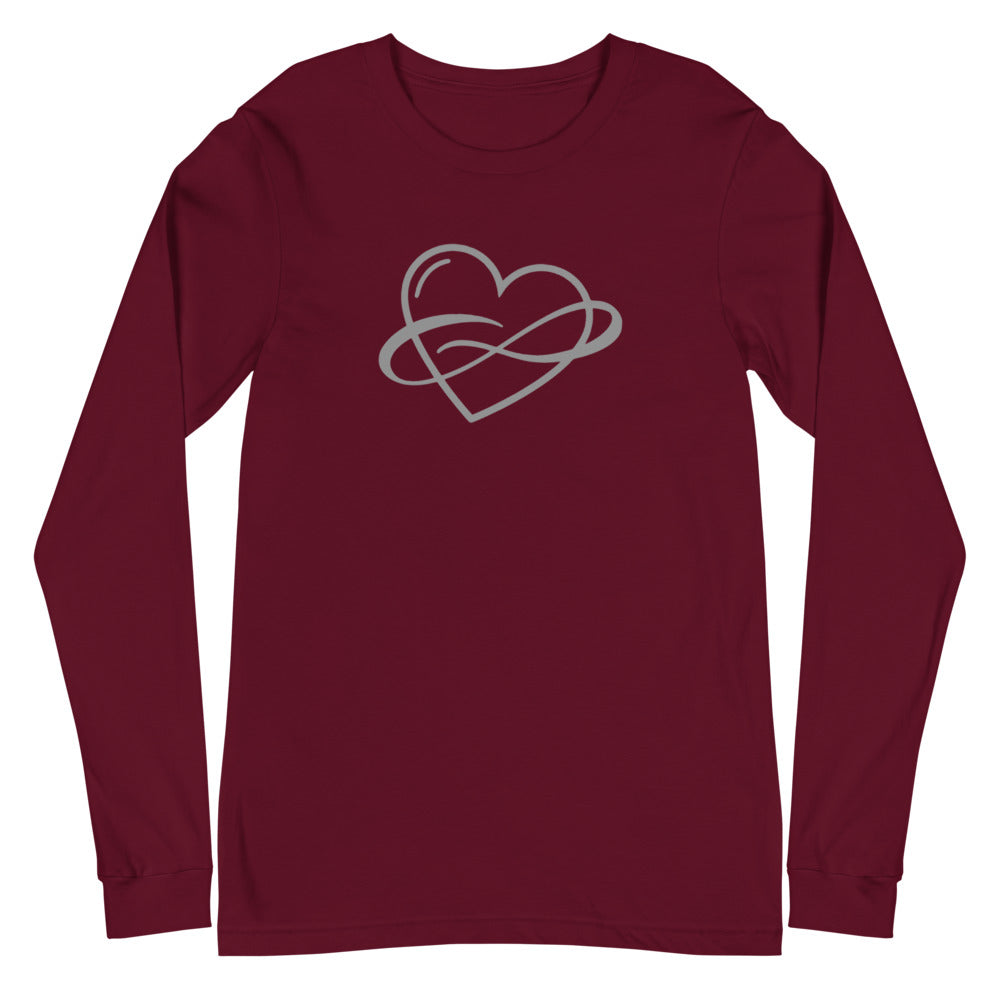 Infinite Love Long Sleeve Tee Maroon | Polycute Gift Shop