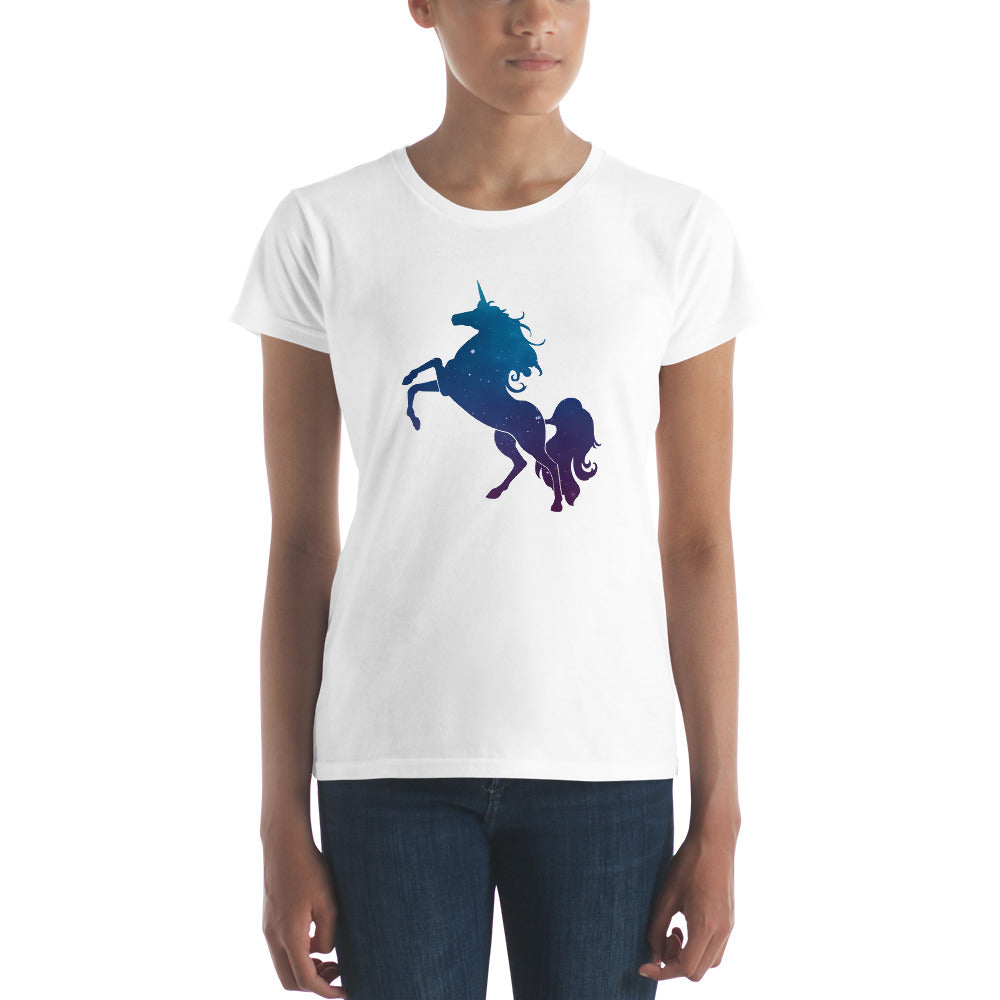 Unicorn Stardust Tee, Fitted White | Polycute Gift Shop