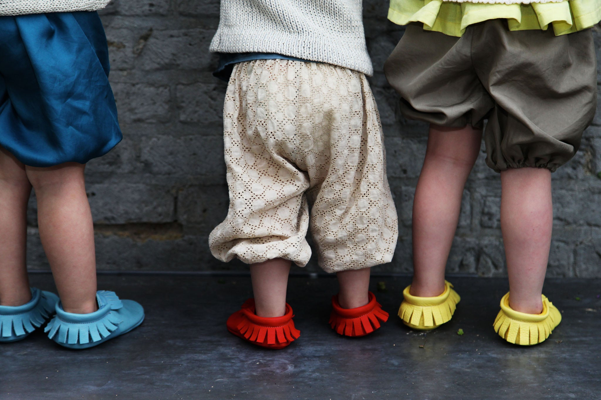 Red Yellow Blue baby moccasins from Amy & Ivor