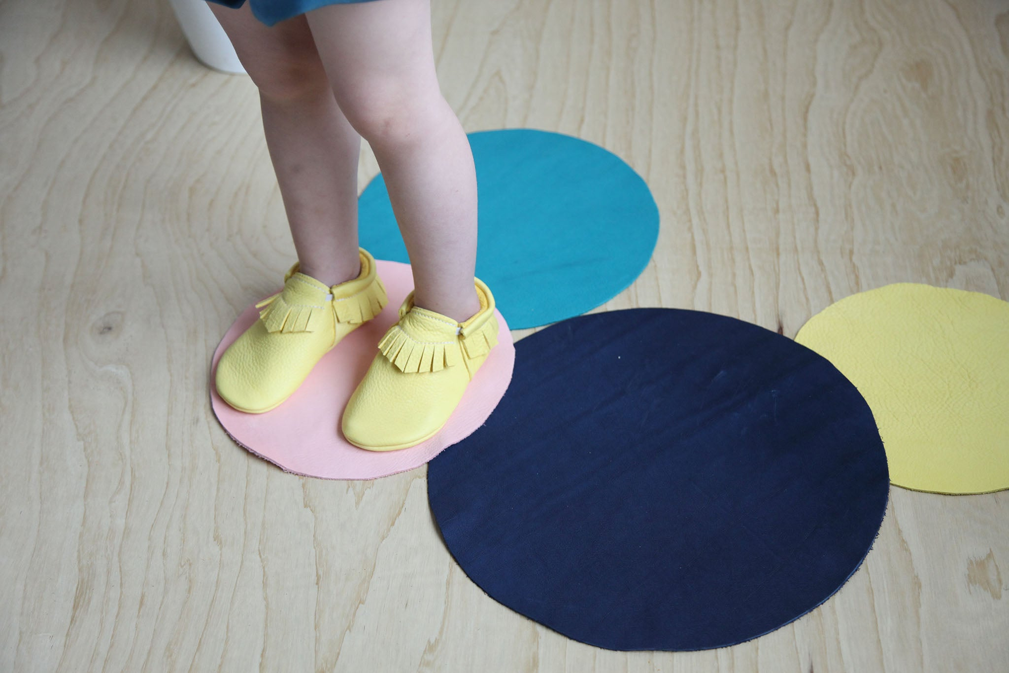 Amy & Ivor yellow toddler moccasins