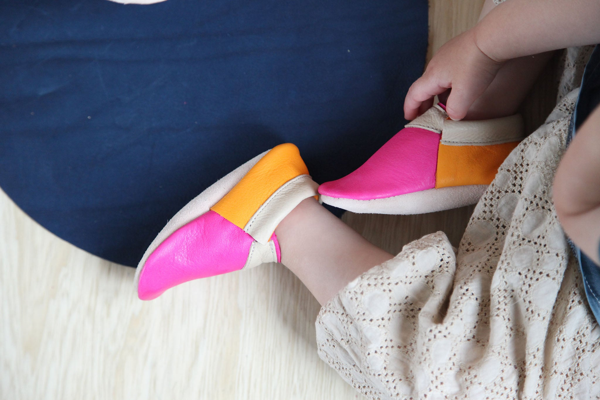 Pink and orange urban moccasins amy and ivor