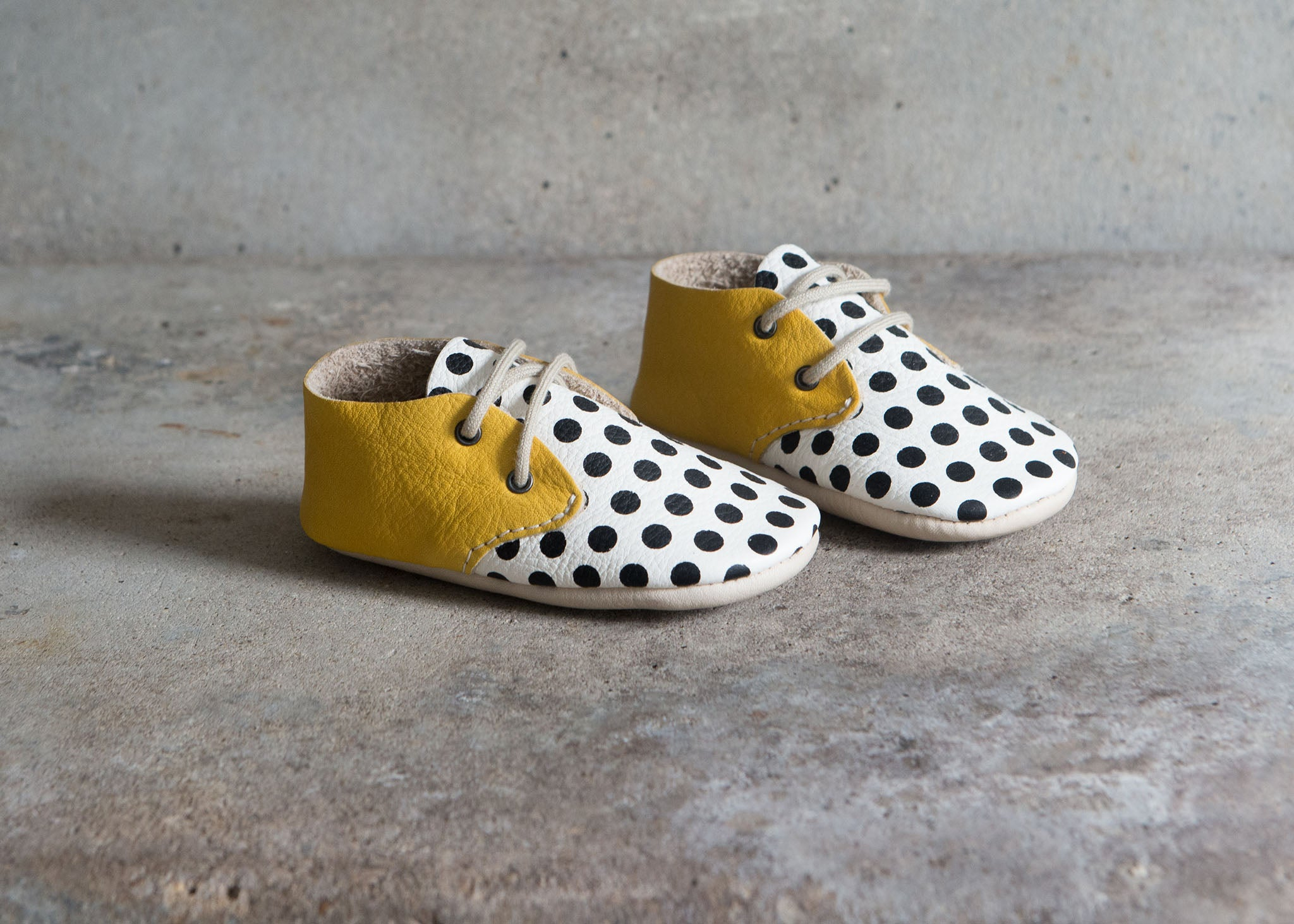 Amy & Ivor yellow black and white spot pop art lace ups