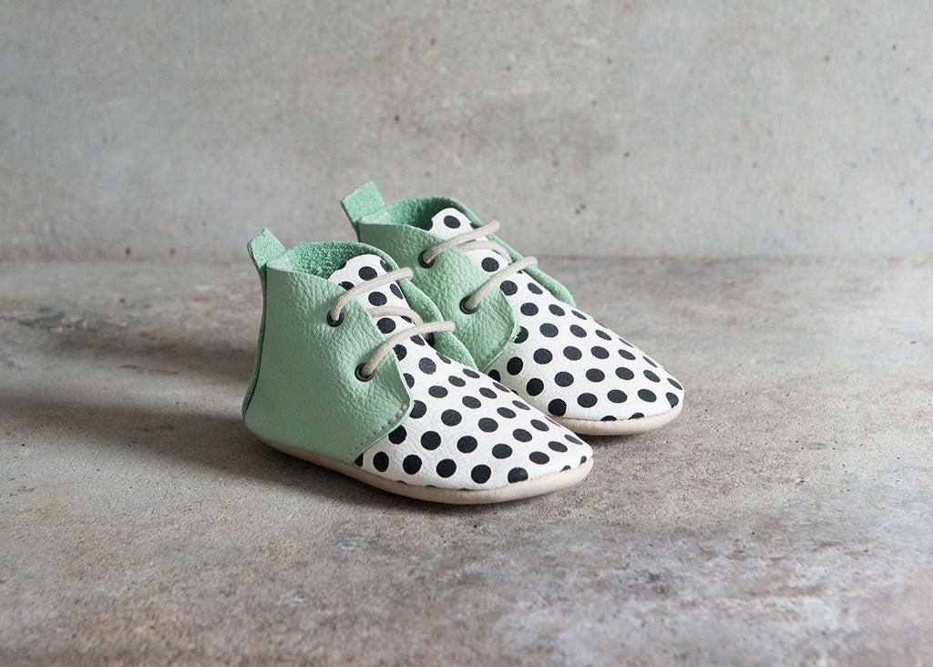 Amy and Ivor mint black and white spot childrens soft soled ankle boots
