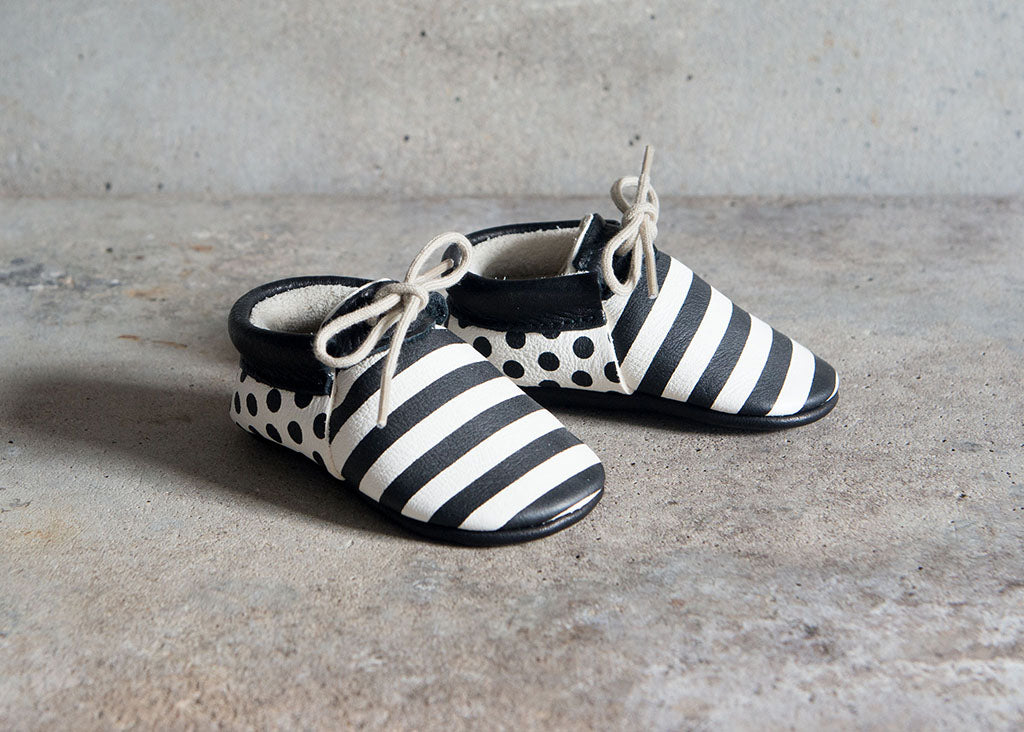 Monochrome black and white stripe and spotty moccasins from amy and ivor