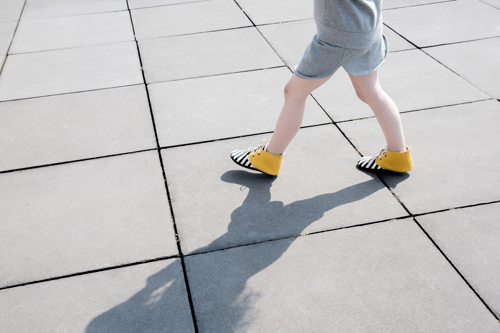 Amy and Ivor black, white and yellow stripy ankle boots