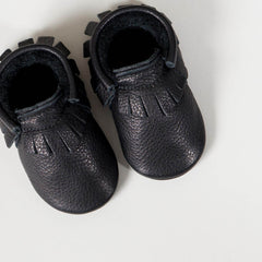 amyandivor.com original baby moccasins baby shoes in black