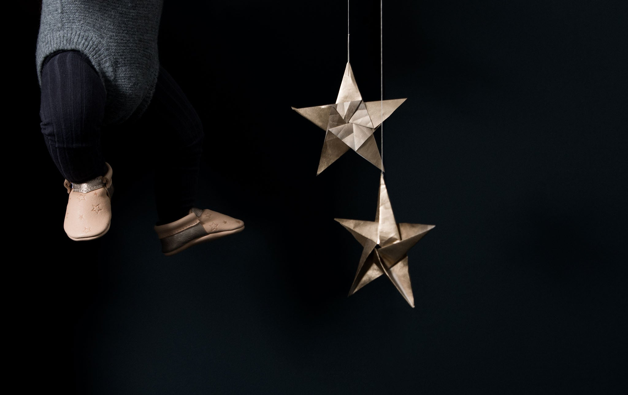 natural stylish baby moccasins with Embossed stars. Exclusives by Amy & Ivor for Cissywears at Liberty London.