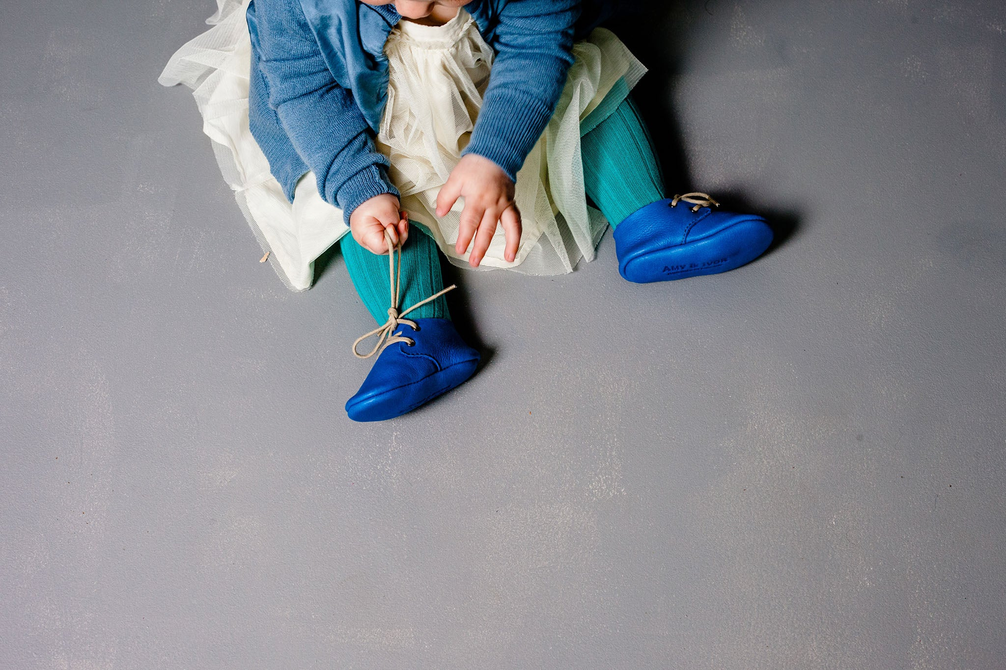 Amy & Ivor Electric Blue handmade leather baby shoes