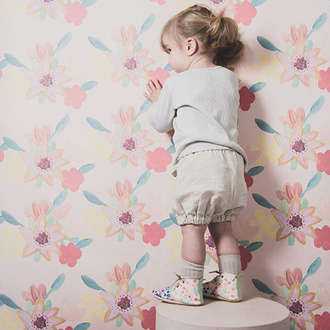 Amy and Ivor booties in eco leather coco and wolf bloomers flowers printed handmade in the uk