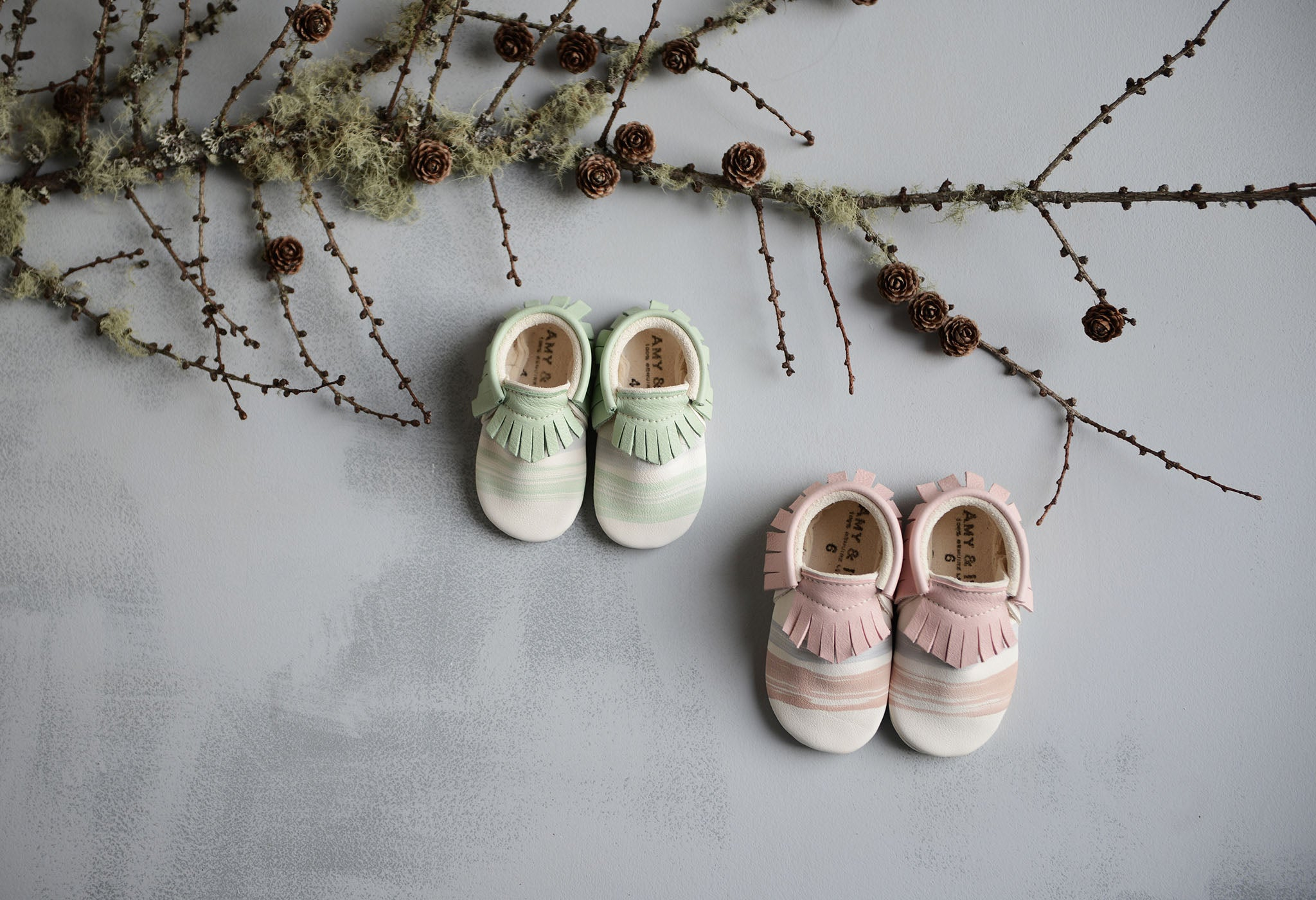award winning mint and pale pink prettiest hand painted handmade baby shoes traditional baby moccasins from amy and ivor