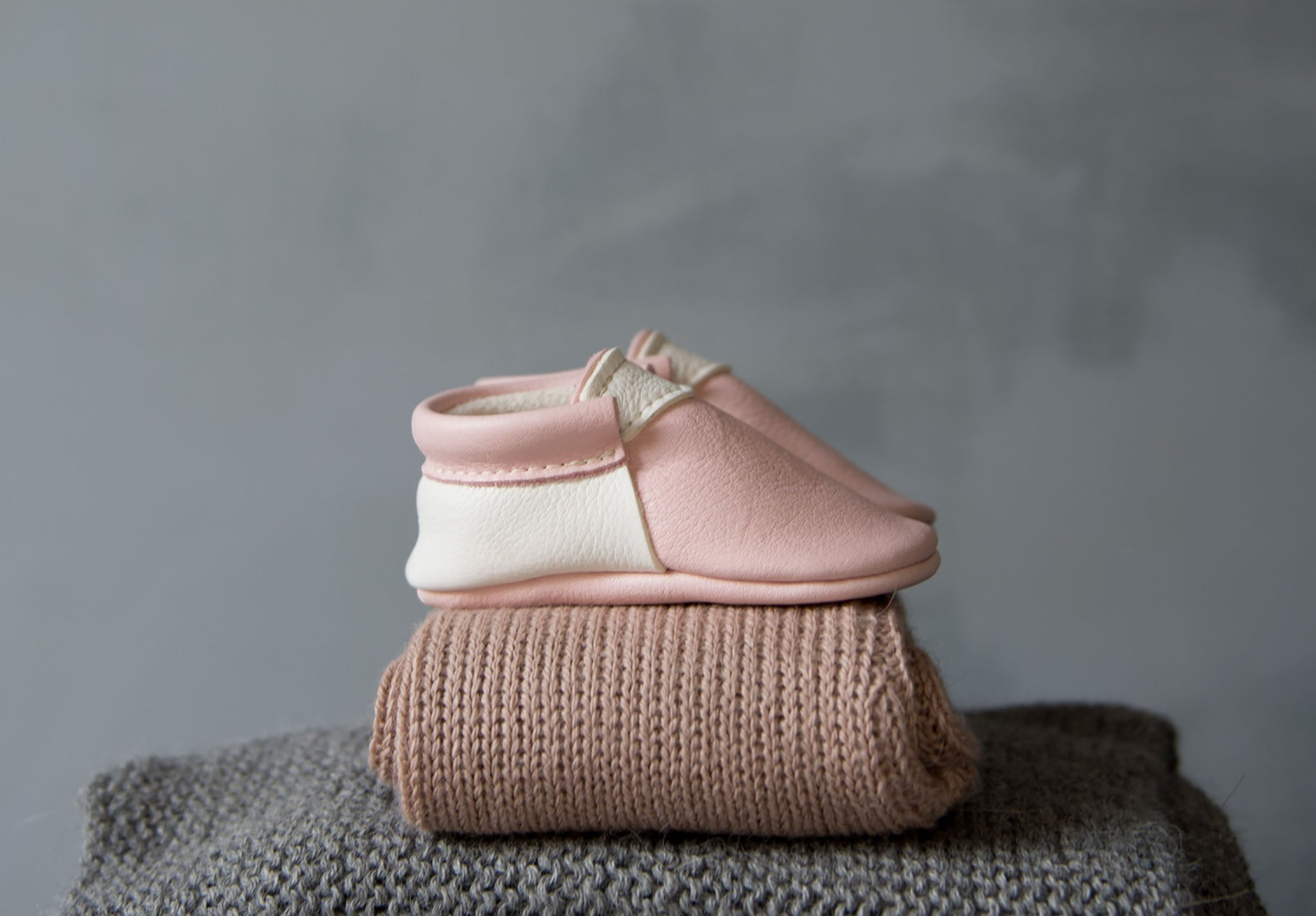 pale pink blush and white baby shoes by amy & ivor