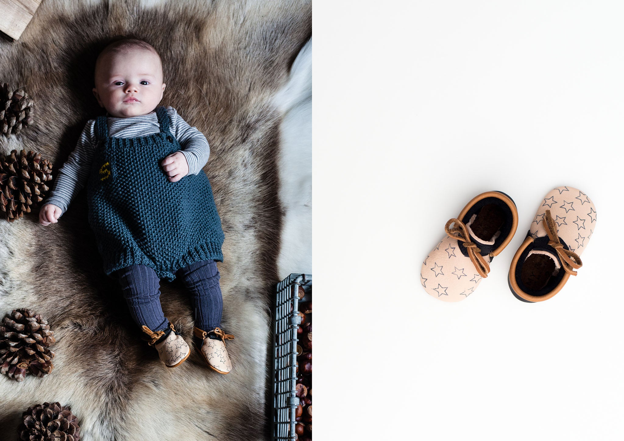 Amy and Ivor winder star eco baby moccasins