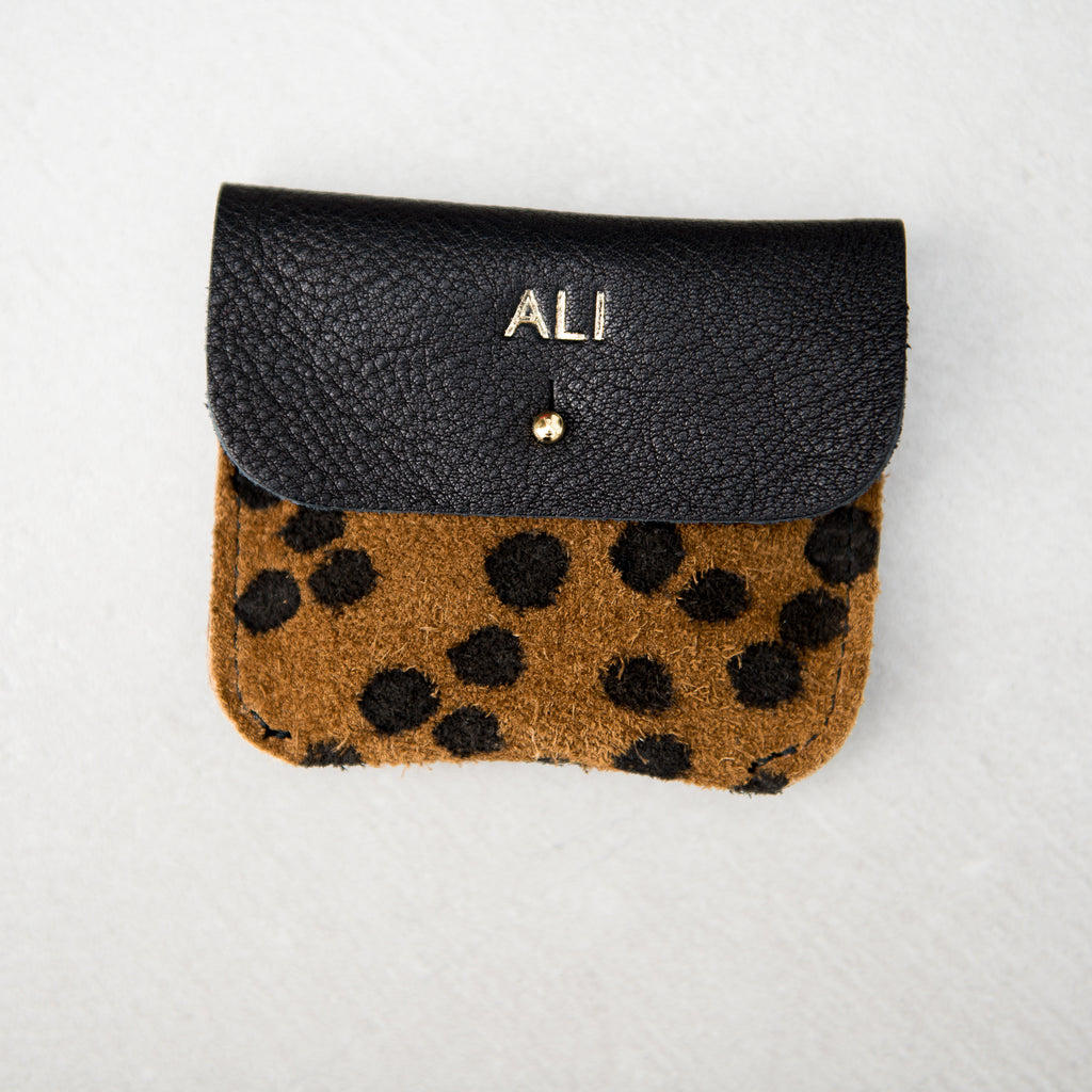 PERSONALISED BLACK + CHEETAH COIN/CARD PURSE - STOCK SALE