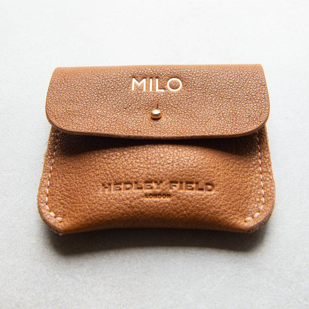 PERSONALISED TAN COIN/CARD PURSE WITH LOGO - STOCK SALE