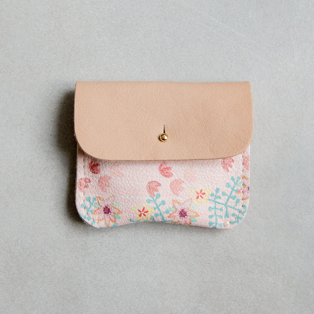 PERSONALISED PINK FLORAL COIN/CARD PURSE - STOCK SALE
