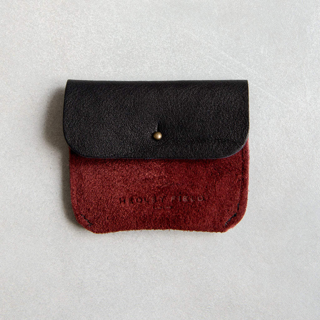 PERSONALISED BLACK + BORDEAUX SUEDE TWO POCKET COIN/CARD PURSE - STOCK SALE