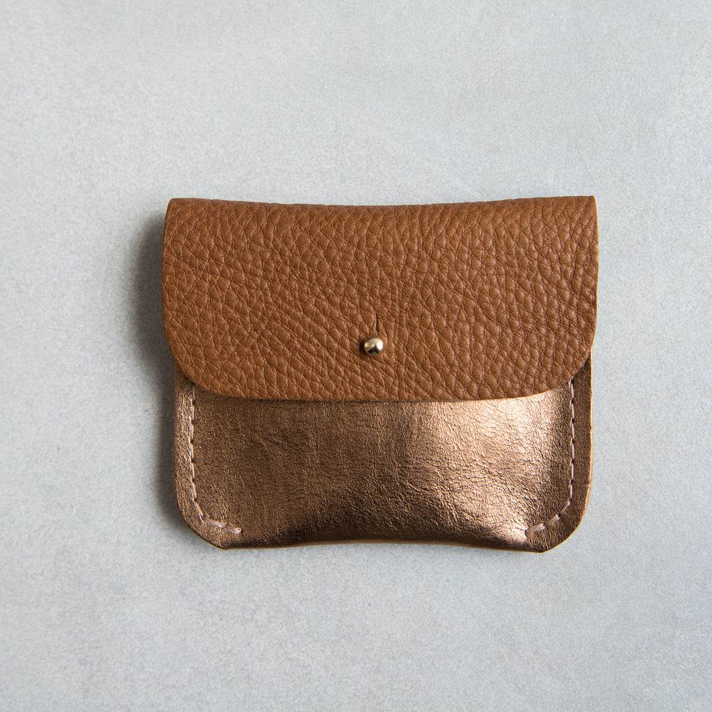 PERSONALISED TAN + COPPER COIN/CARD PURSE - STOCK SALE