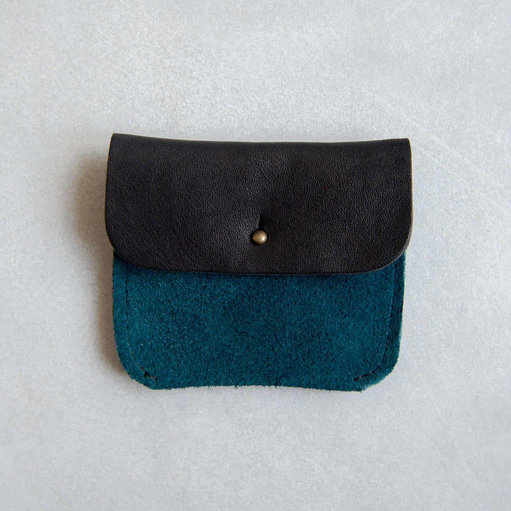 PERSONALISED BLACK + PETROL SUEDE TWO POCKET COIN/CARD PURSE - STOCK SALE