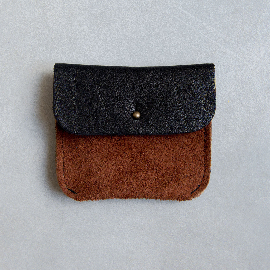 PERSONALISED BLACK + RUST SUEDE TWO POCKET COIN/CARD PURSE - STOCK SALE