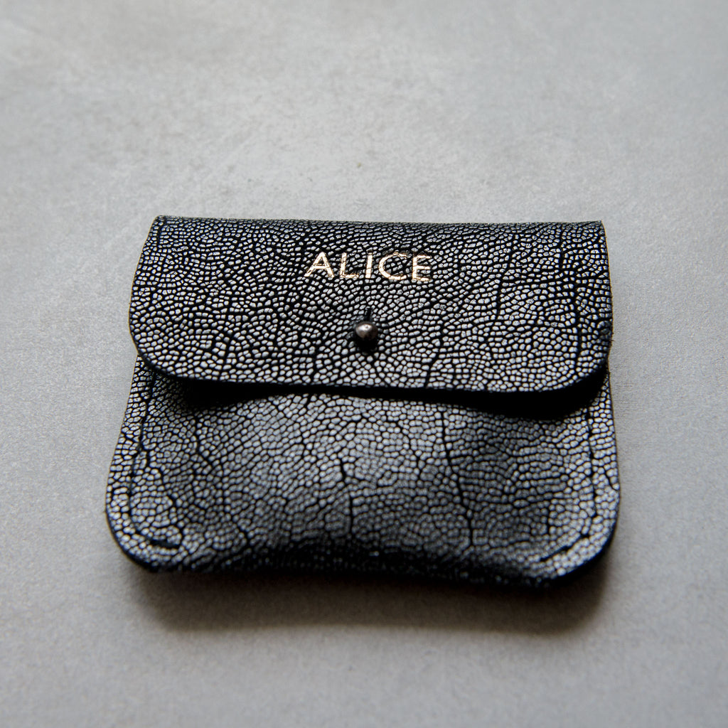 PERSONALISED TEXTURED METALLIC COIN/CARD PURSE - STOCK SALE