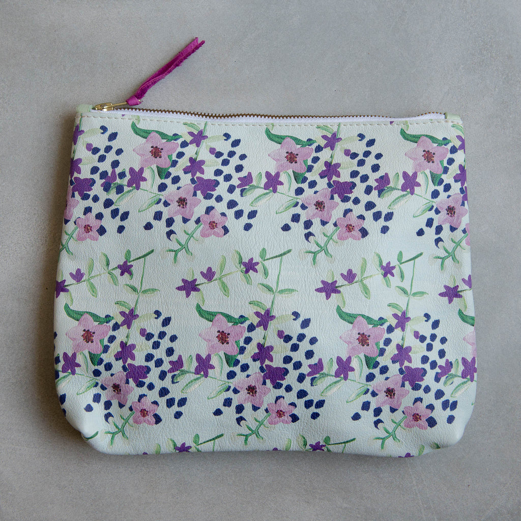 PERSONALISED BLUE FLORAL/MINT LARGE MAMA POUCH - STOCK SALE