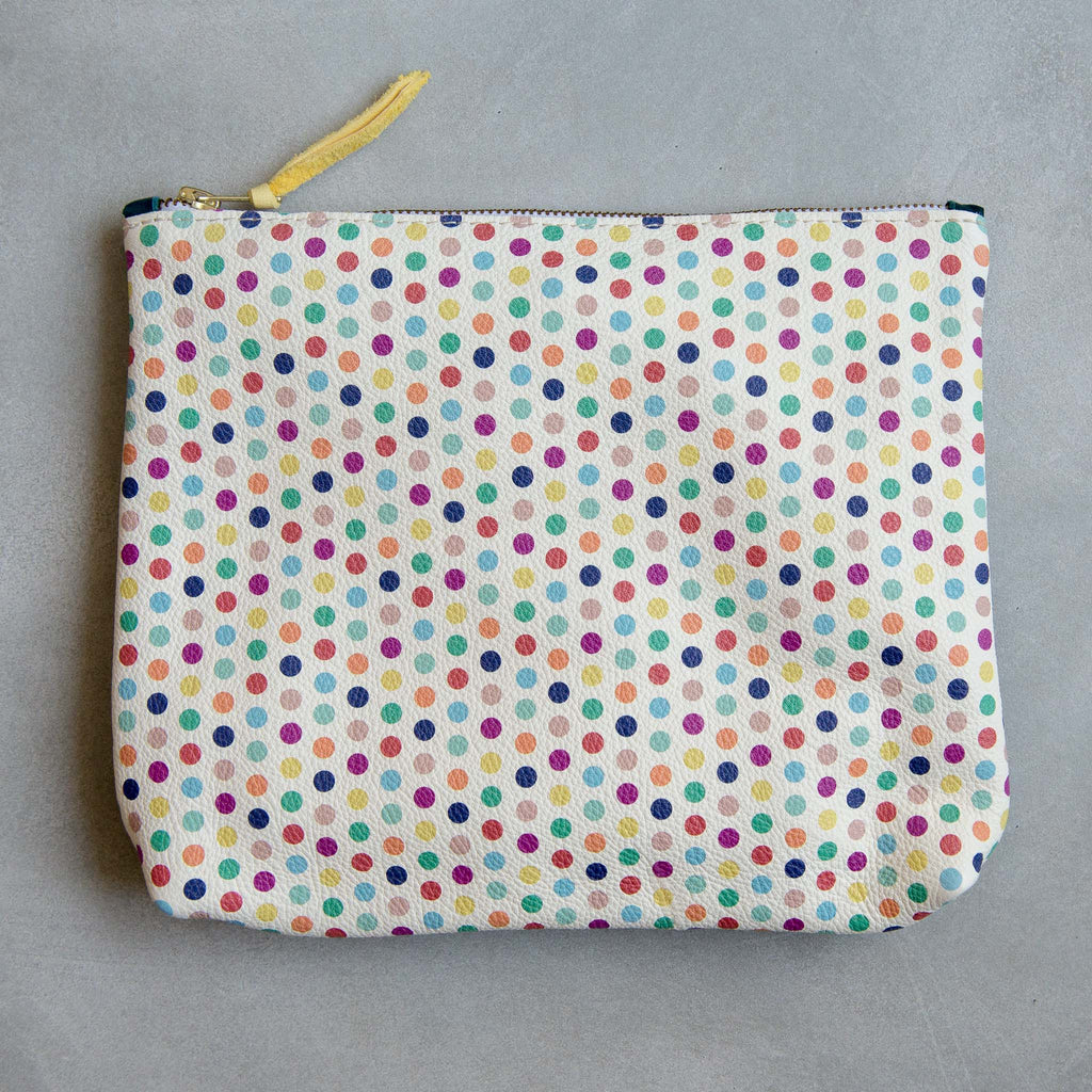 PERSONALISED POLKA DOT/PETROL LARGE MAMA POUCH - STOCK SALE