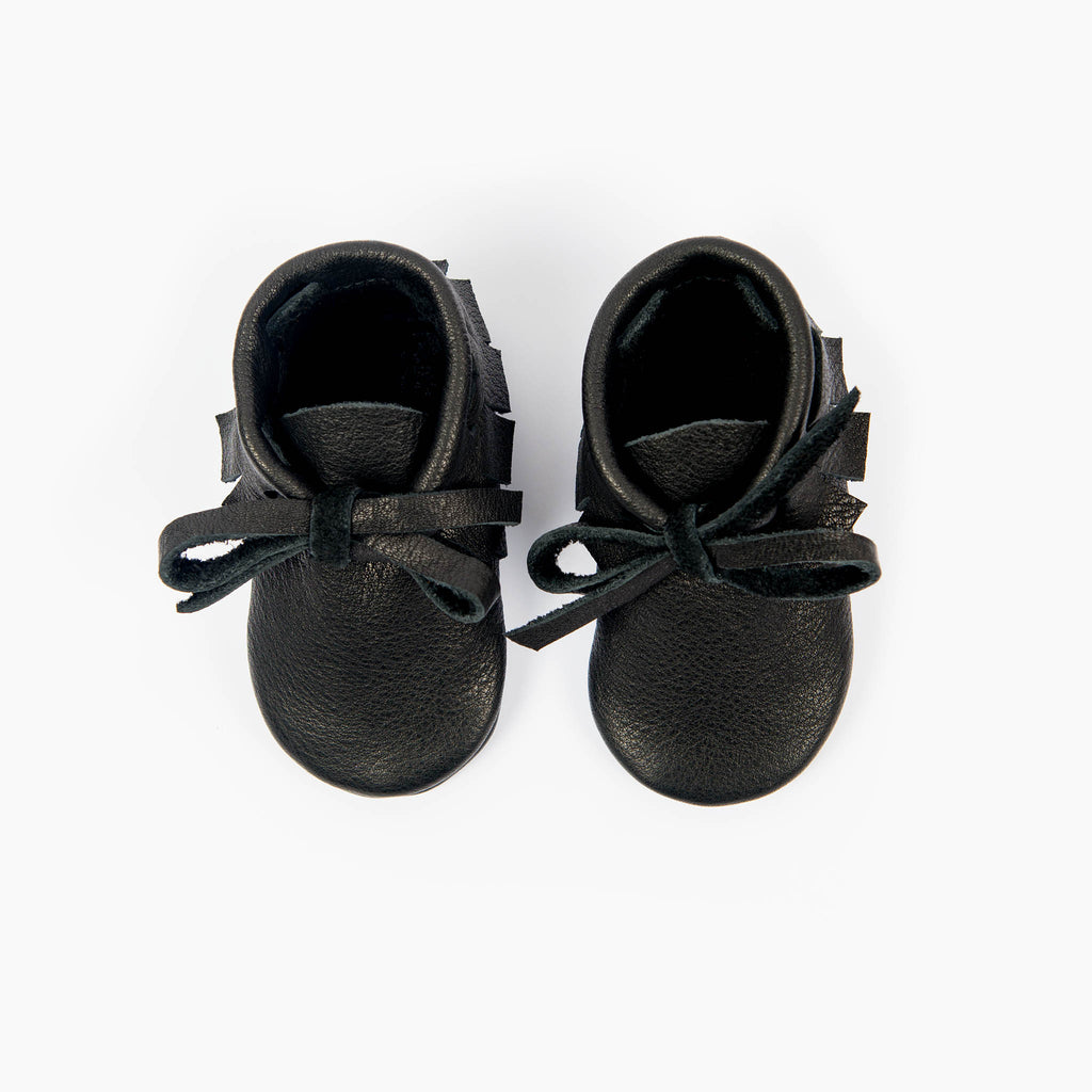 BLACK LACED MOCCASINS STOCK SALE - SIZE 4 (12-18 mths)