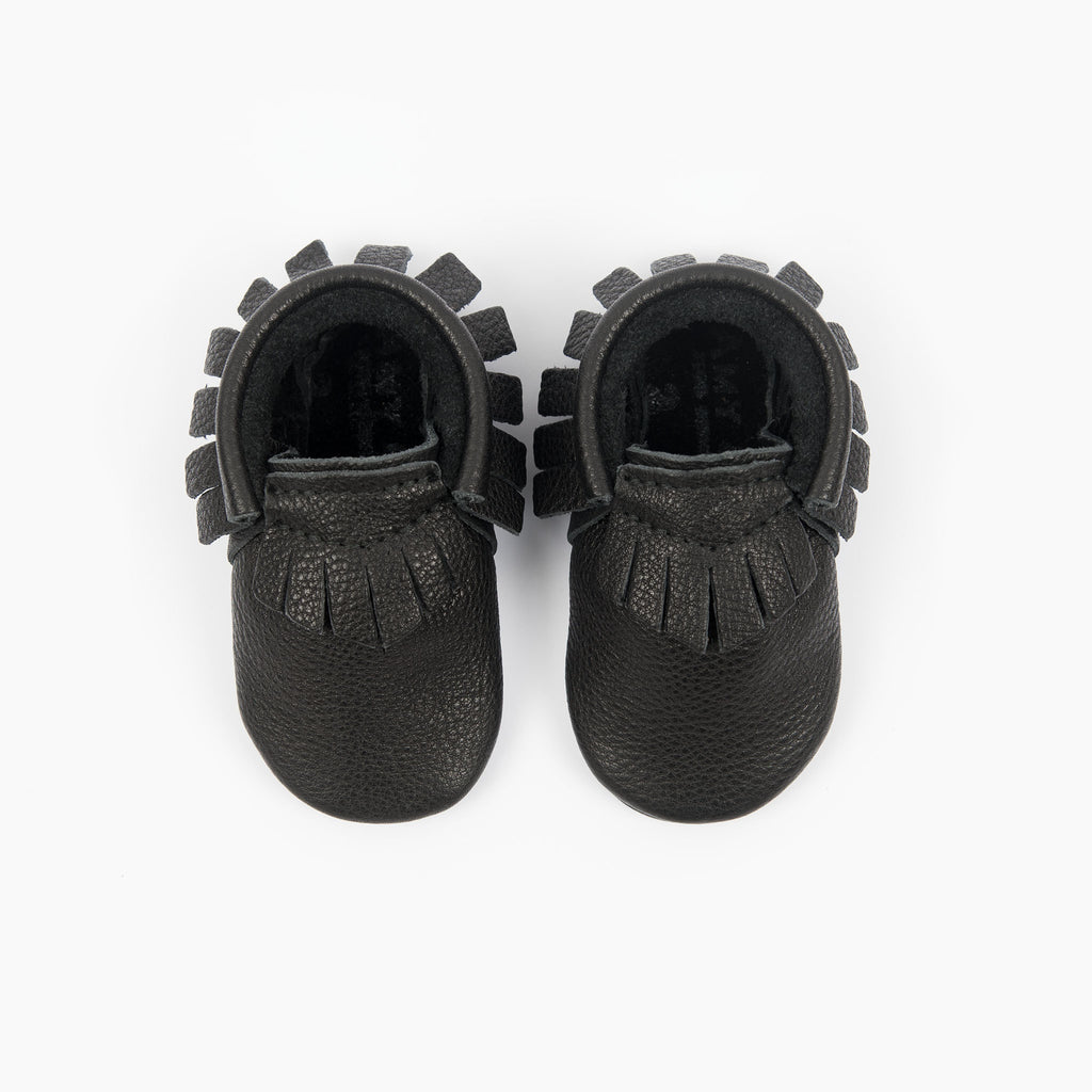 amy & ivor black eco leather handmade baby moccasins britain