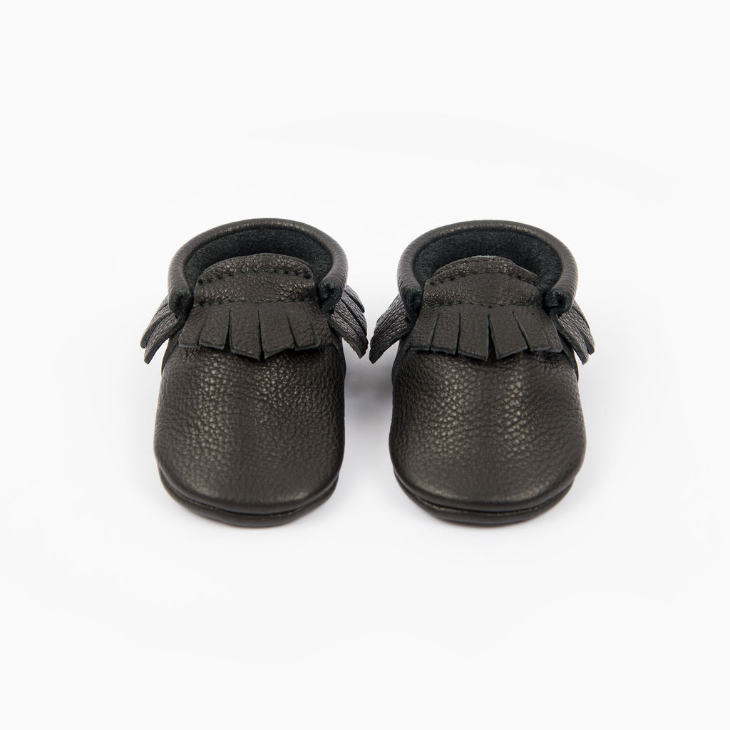 amy & ivor black elasticated eco leather baby moccasins uk
