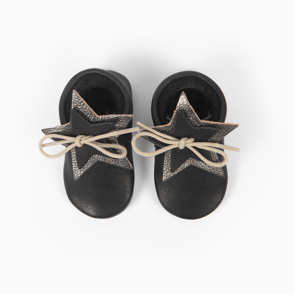 BLACK STAR SHAPE MOCCASINS