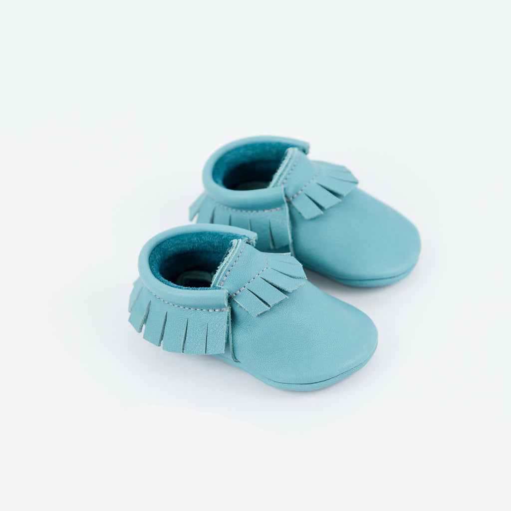 BLUE MOCCASINS STOCK SALE - SIZE 2 (6-9 mths)