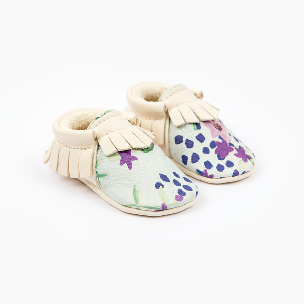 BLUE FLOWER MOCCASINS