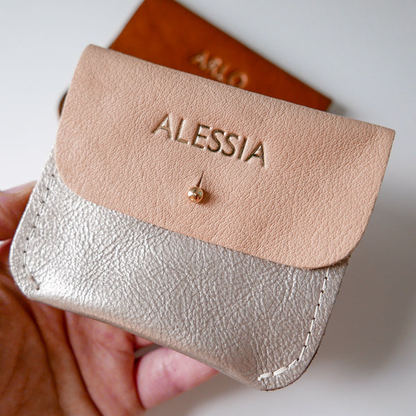 PLATINUM + NATURAL COIN/CARD PURSE