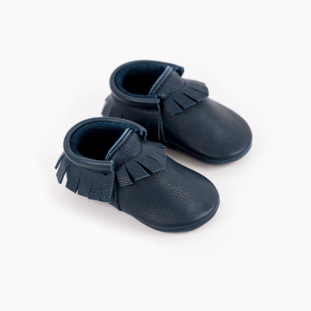 Amy and Ivor Navy blue leather baby moccasins