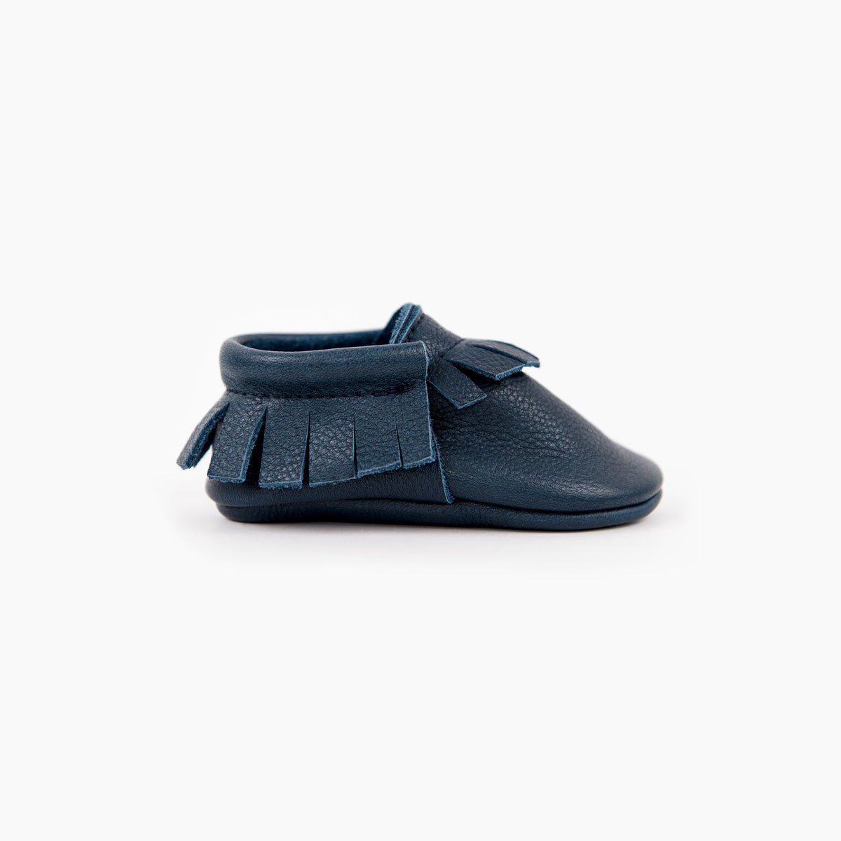 Navy blue leather baby moccasins from Amy and Ivor