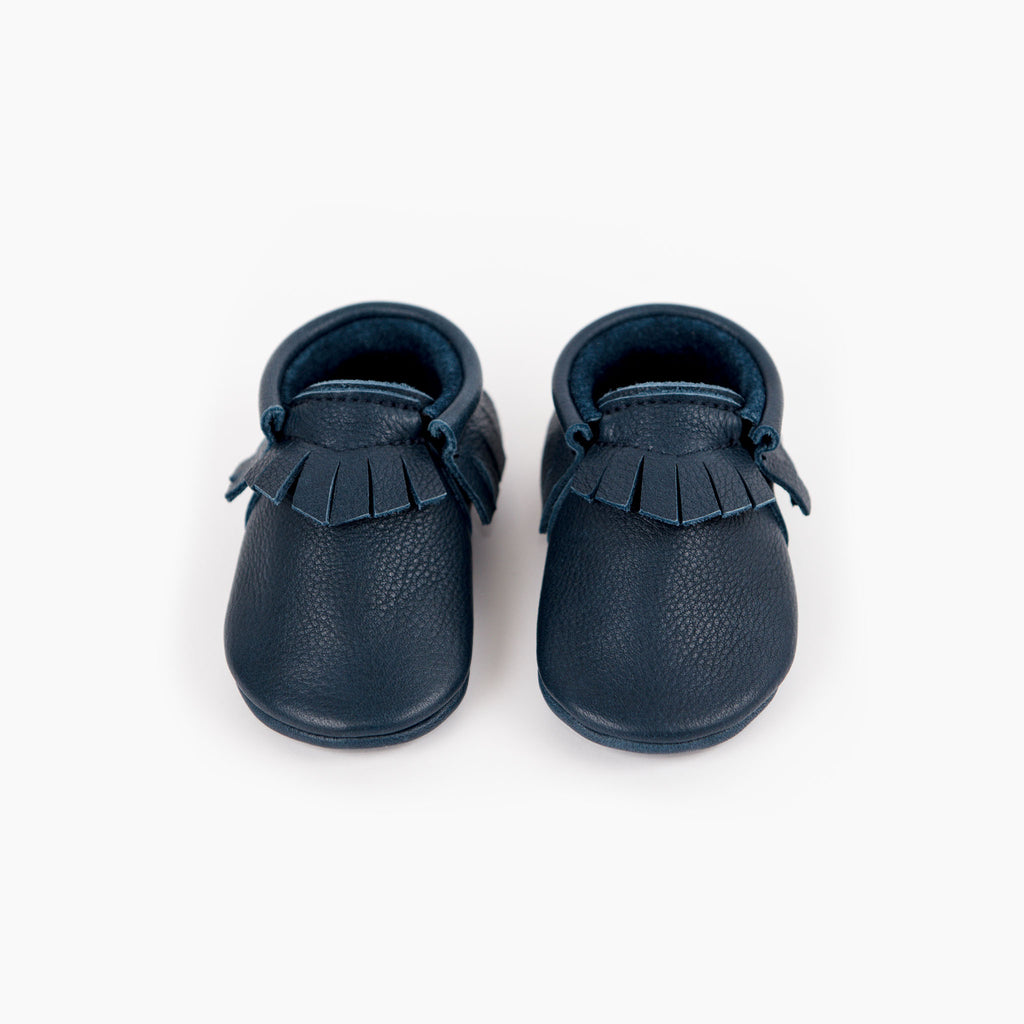 Amy & Ivor Ink classic slip on handmade leather baby moccasins