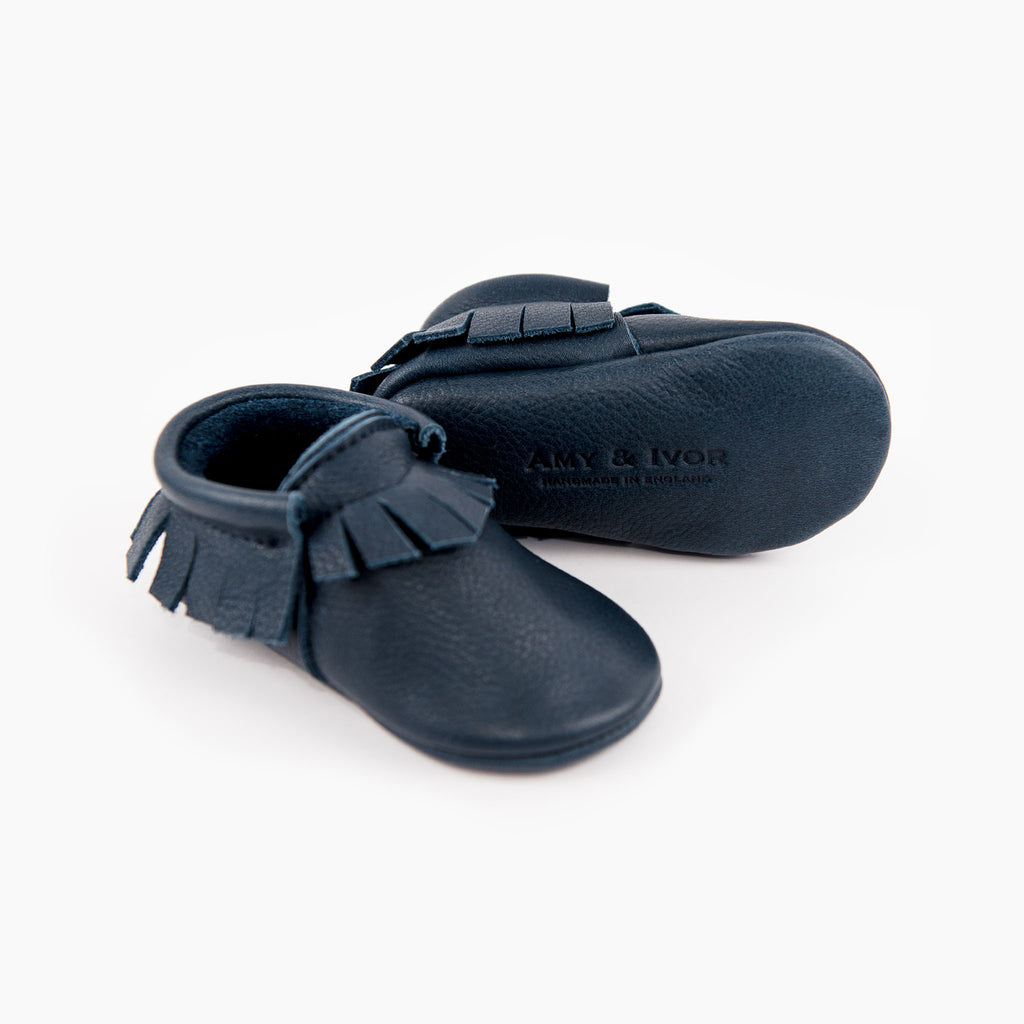 Amy & Ivor classic ink blue leather baby moccasins
