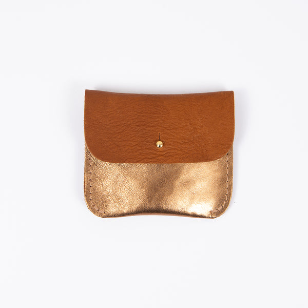 TAN + COPPER COIN/CARD PURSE
