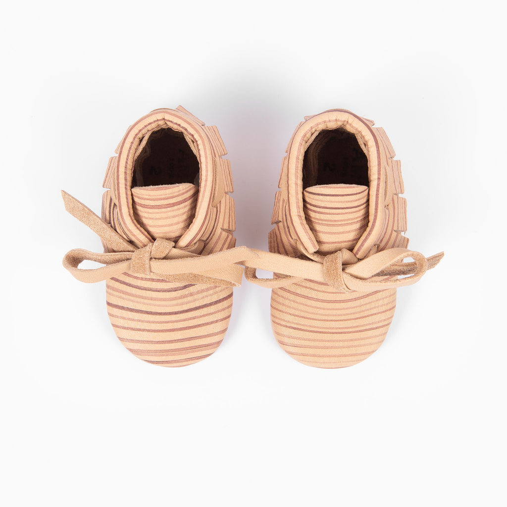 NATURAL STRIPE LACED MOCCASINS STOCK SALE - VARIOUS SIZES