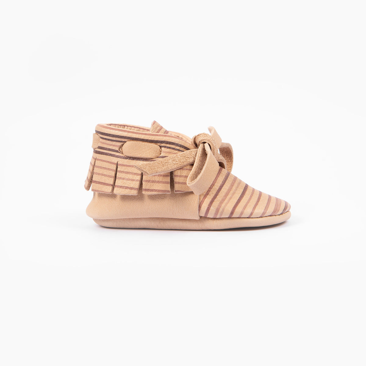 NATURAL STRIPE LACED MOCCASINS
