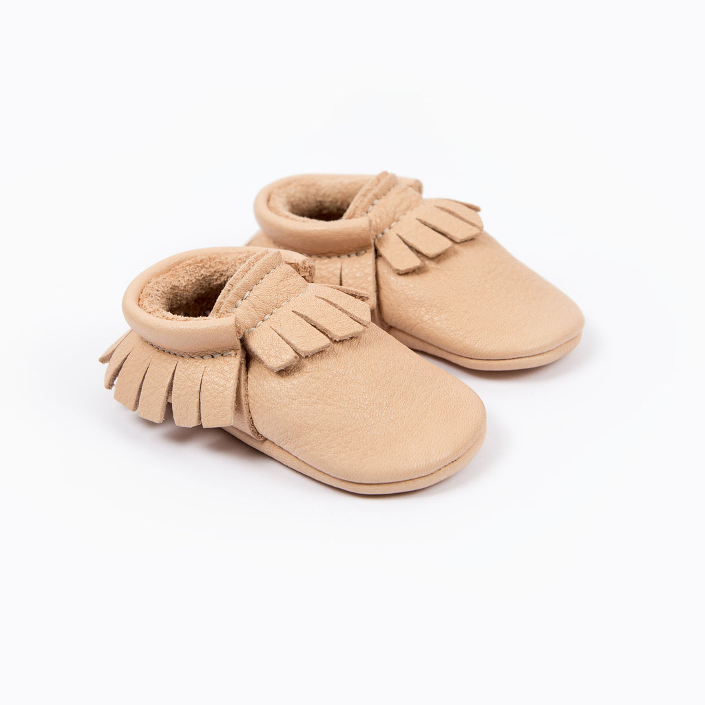 NATURAL MOCCASINS STOCK SALE - SIZE 8 (3-3.5 yrs)
