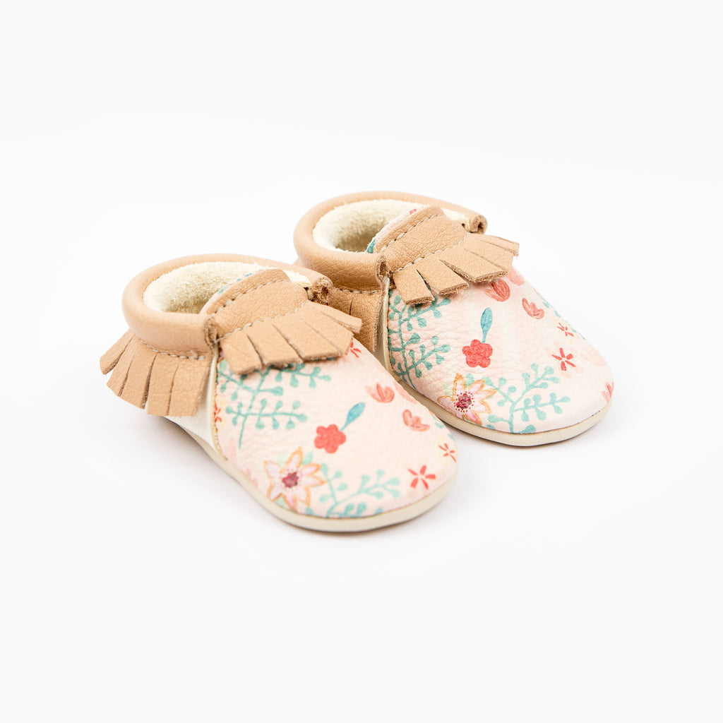 PINK FLORAL MOCCASINS STOCK SALE - VARIOUS SIZES