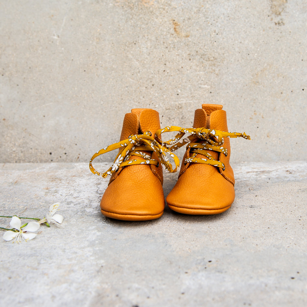 OCHRE HIGH TOPS WITH LIBERTY PRINT LACES
