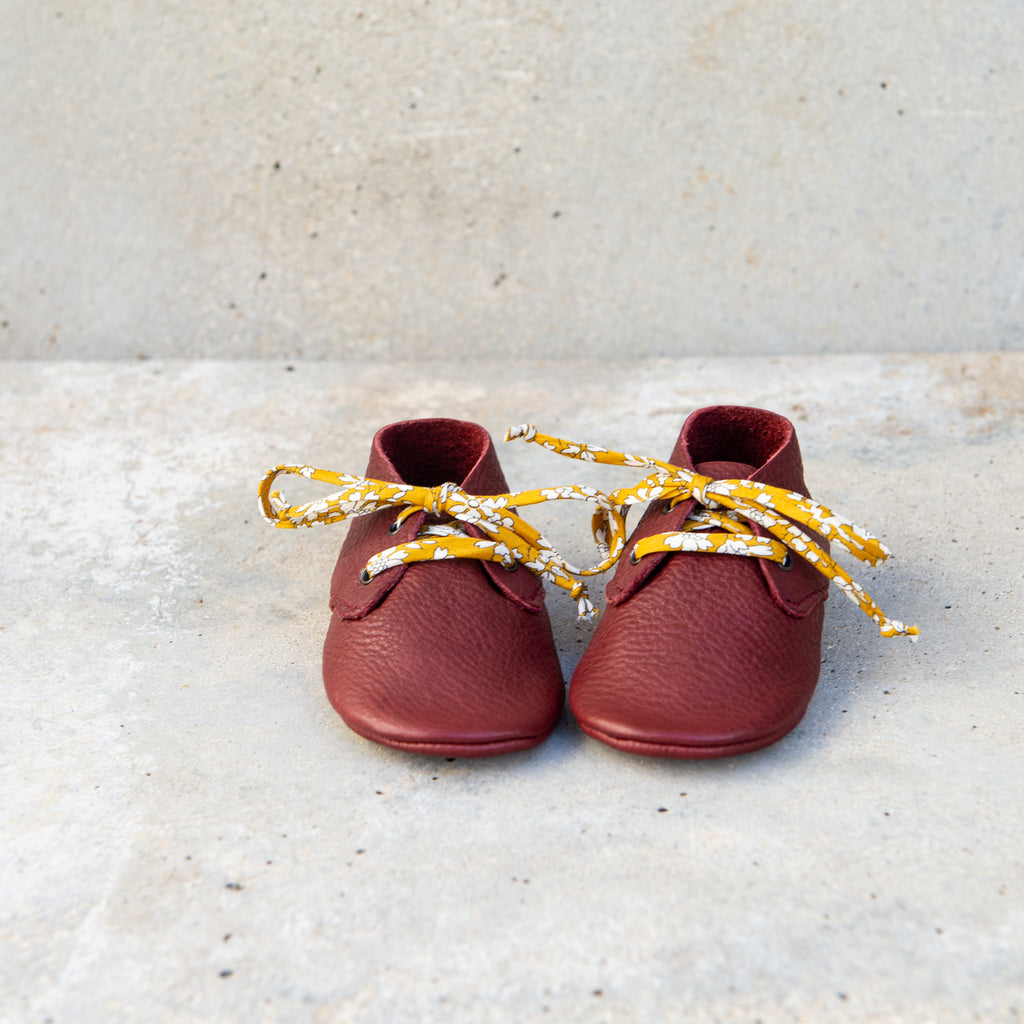 BORDEAUX TRAVELLERS WITH LIBERTY PRINT LACES