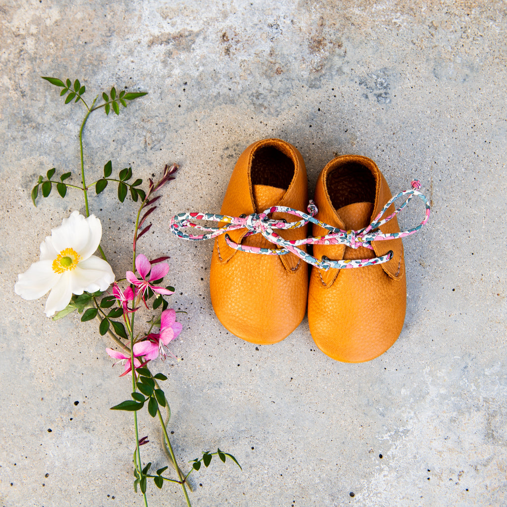 OCHRE TRAVELLERS WITH LIBERTY PRINT LACES